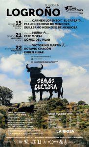 Cartel anunciador de los tres festejos taurinos en la plaza de Logroño.