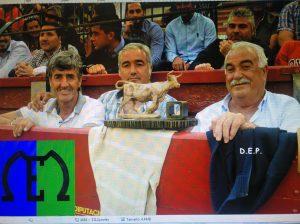 En la imagen, de izquierda a derecha, Sergio Ozcoz, Eulogio Mateo y su padre, del mismo nombre.